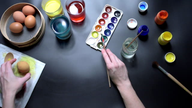 Hands painting easter eggs video