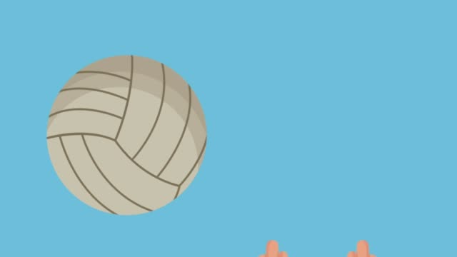 hands playing volleyball animation video