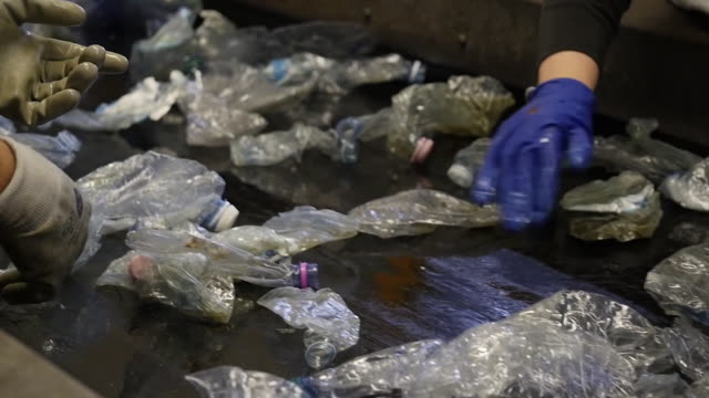 hands sort bottles plastic recycling process bottle stock videos & royalty-free footage