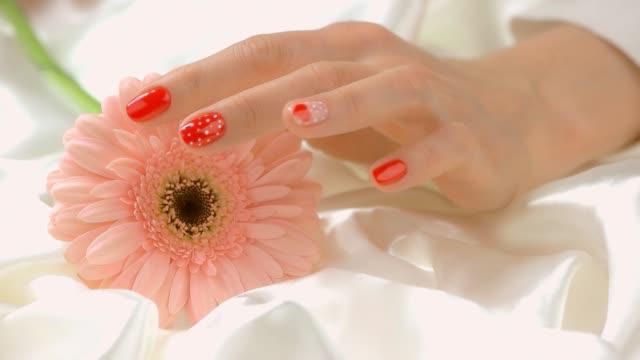 Hands touching gerbera, slow motion. video