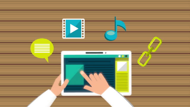 hands using tablet with social media technology hands using tablet with social media technology , hd video animation www stock videos & royalty-free footage