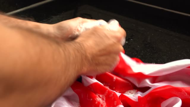 Hands Washing American Flag - Change USA/Corruption Concept video