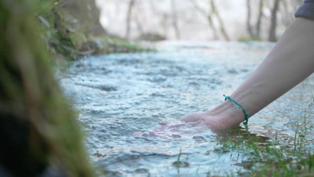 Hands With Crystal Clear Mountain Water Slow Motion. Water, Spring - Flowing Water, Drop, Drinking, Human Hand handful stock videos & royalty-free footage