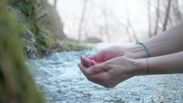 Hands With Pure Spring Water. Crystal Clear Mountain Water Slow Motion. Water, Spring - Flowing Water, Drop, Drinking, Human Hand handful stock videos & royalty-free footage