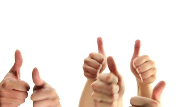 Hands with thumbs raised up video