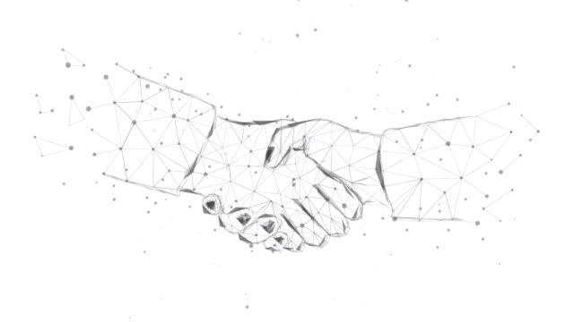 Handshake from triangles and luminous points. Concept of a successful business project. Black-and-white. Animation. Polygonal illustration. Low poly.