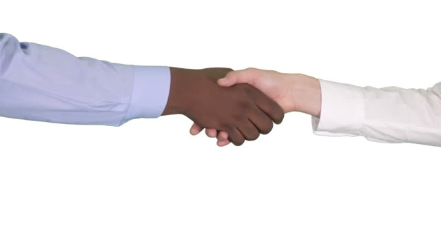 Handshake of Afro American and caucasian female hands on white background