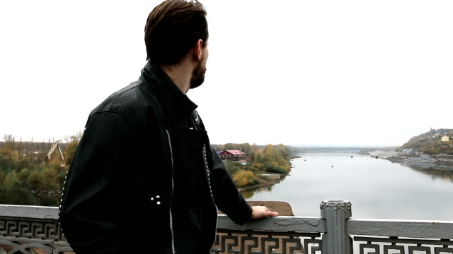 Handsome bearded man in black leather jackets video
