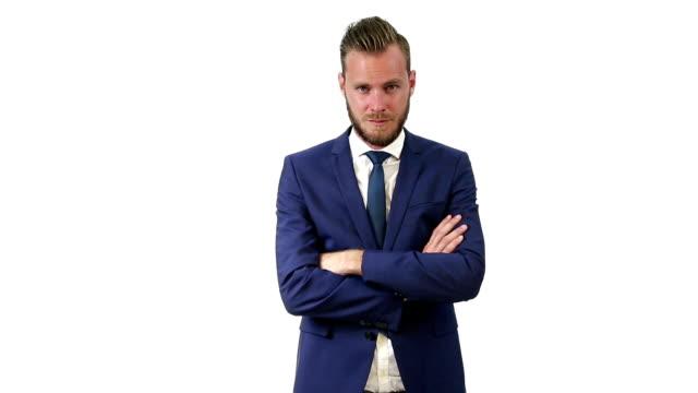 Handsome businessman in blue suit video