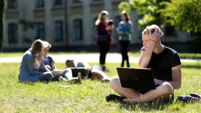 Handsome male student studying with laptop in park Attractive teenage hipster sitting on green grass at campus lawn while studying outdoors. Handsome university student using laptop computer while doing homework on park lawn with blurry group of students studying and relaxing on background. campus stock videos & royalty-free footage