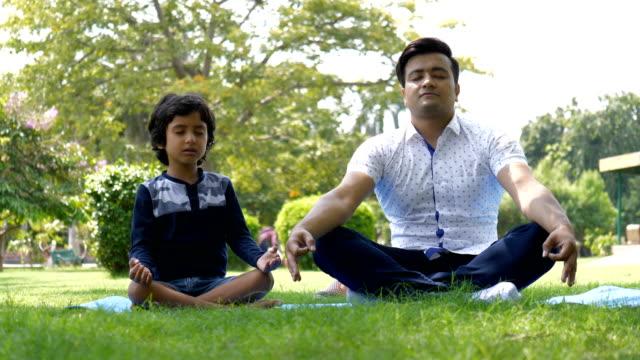красивый мужчина и его ребенок делают упражнения йоги, сидя на коврик для йоги в парке - mindfulness стоковые видео и кадры b-roll
