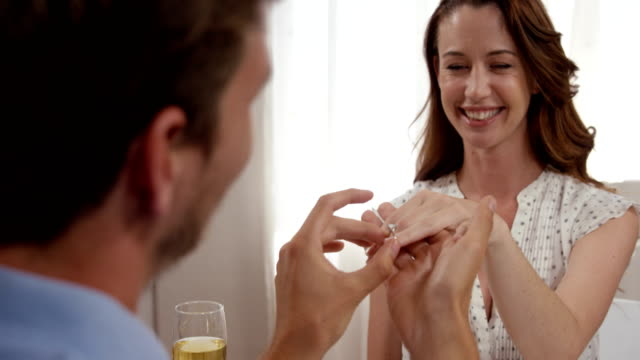 Handsome man doing marriage proposal to his girlfriend video