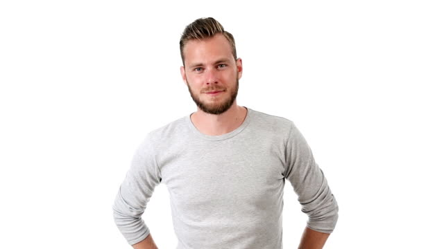 Handsome man in grey video