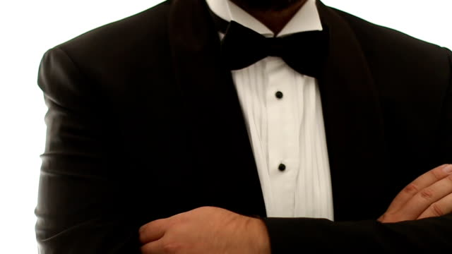 Handsome man in tuxedo and bow video