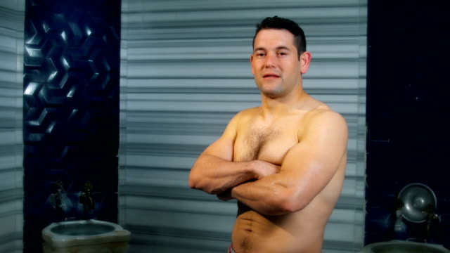 Handsome Man Looking at Camera in Turkish Bath