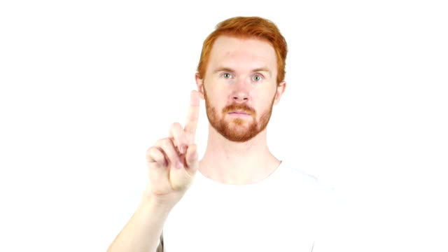 Handsome red hair man showing no sign, on white background video