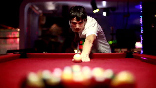 handsome serious man playing pool. 1920x1080 video