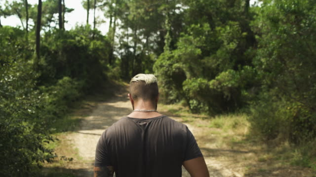 Handsome tattooed blond caucasian man walking and hiking in the forest during sunny summer day. 4K UHD.