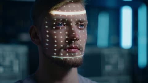 Handsome Young Caucasian Man is Identified by Biometric Facial Recognition Scanning Process. Futuristic Concept: Projector Identifies Individual by Illuminating Face by Dots and Scanning with Laser Handsome Young Caucasian Man is Identified by Biometric Facial Recognition Scanning Process. Futuristic Concept: Projector Identifies Individual by Illuminating Face by Dots and Scanning with Laser Shot on RED EPIC-W 8K Helium Cinema Camera. identity stock videos & royalty-free footage