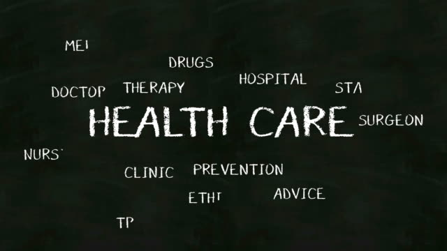 Handwriting concept of 'HEALTH CARE' at chalkboard. video