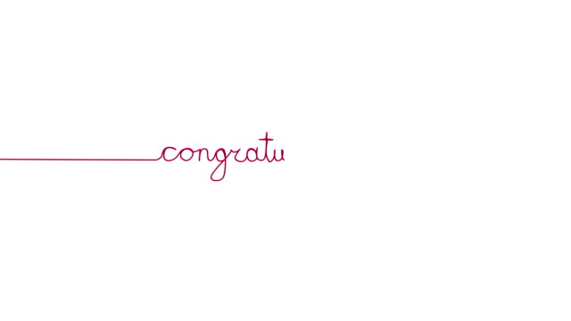 Handwritten CONGRATULATIONS text sign. Line separator, overlay, alpha channel video