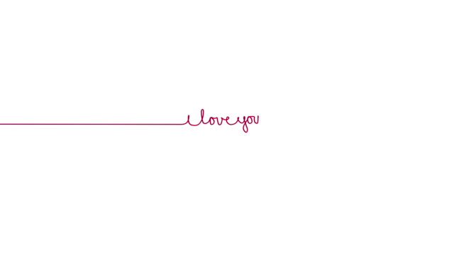 Handwritten I LOVE YOU text sign. Line separator, overlay, alpha channel video