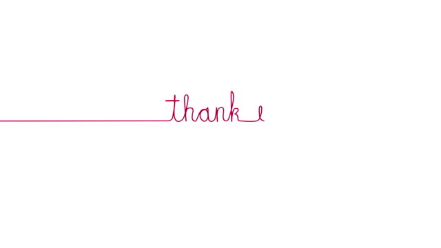 Handwritten THANK YOU text sign. Line separator, overlay, alpha channel video