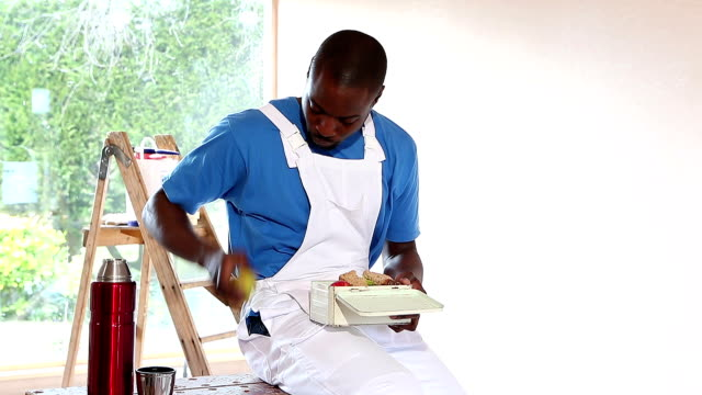 Handyman Having Packed Lunch video