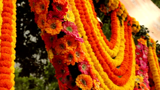 Hanging Marigolds in Kolkata, India This high definition video was taken in the streets of Kolkata, India. indian culture stock videos & royalty-free footage