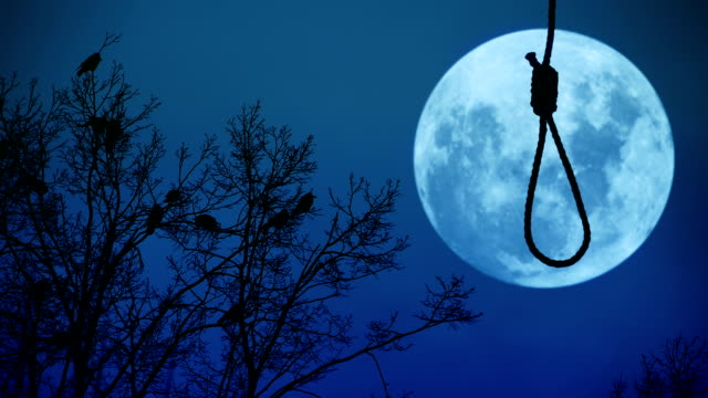 Hanging noose with the moon in the background. video