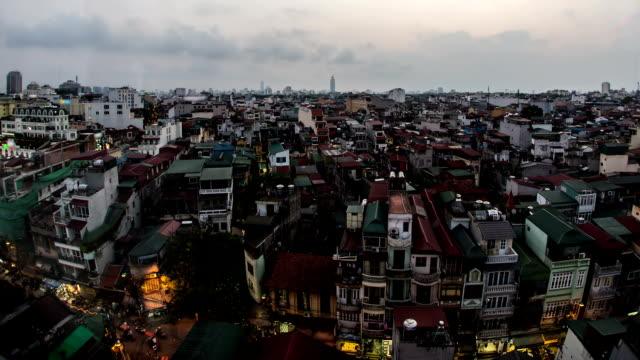 old quarter hanoi, vietnam in der dämmerung - indochina stock-videos und b-roll-filmmaterial