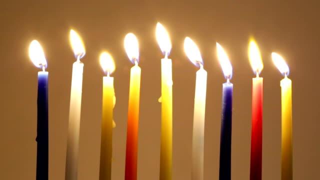 Hanukkah candles burn video