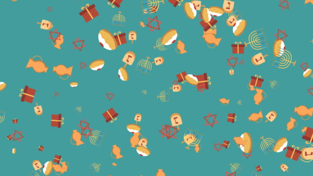 Hanukkah holiday flat design animation background with traditional symbols video