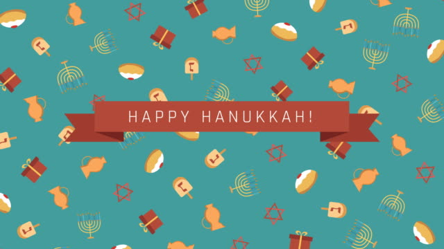 Hanukkah holiday flat design animation background with traditional symbols and english text video