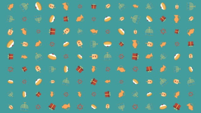 Hanukkah holiday flat design animation background with traditional symbols video