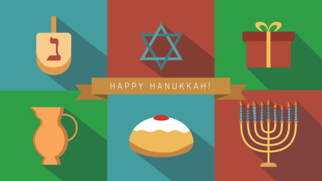 Hanukkah holiday flat design animation icon set with traditional symbols and english text video