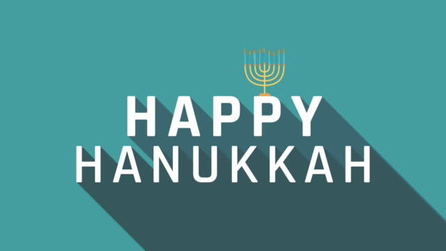 vídeos de stock e filmes b-roll de hanukkah holiday greeting animation with menora icon and english text - texto datilografado