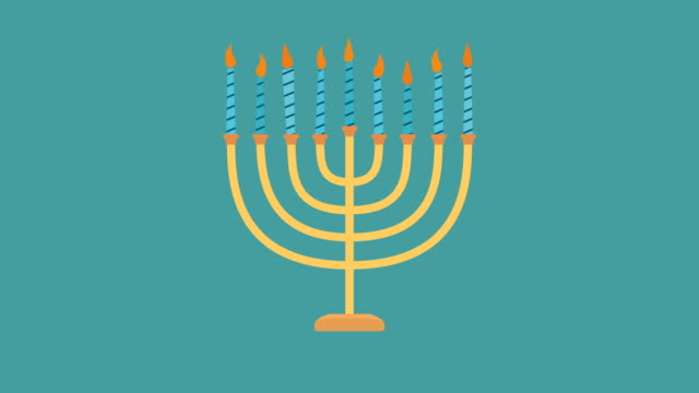 Hanukkah holiday Menora flat design animation icon Hanukkah holiday Menora flat design animation icon. loop with alpha channel. hanukkah stock videos & royalty-free footage