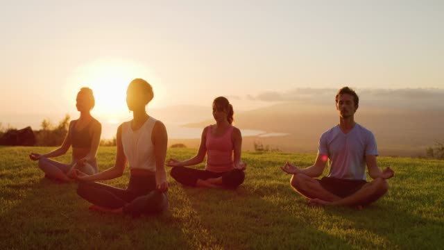 Happiness is a sunset meditation Zen meditation practice at sunset, group of diverse young people meditating together at sunset, zen health and wellness zen like stock videos & royalty-free footage