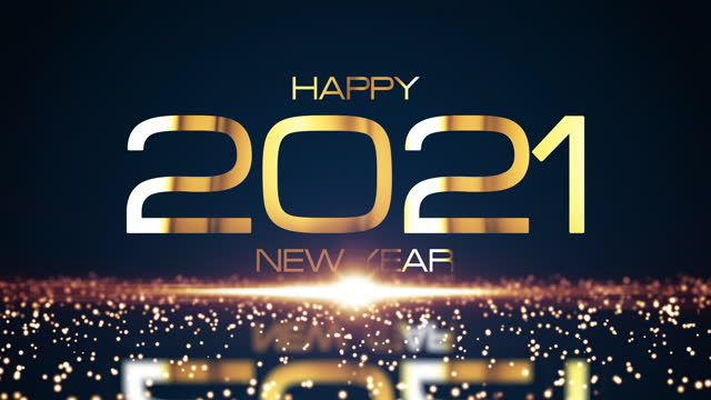 Happy 2021 New Year golden text with glowing glittering particles effect and shining gold flare light. 4K 3D seamless looping motion design for new year holidays gold colored light sparkles background Happy 2021 New Year golden text with glowing glittering particles effect and shining gold flare light. 4K 3D seamless looping motion design for new year holidays gold colored light sparkles background happy new year 2021 stock videos & royalty-free footage