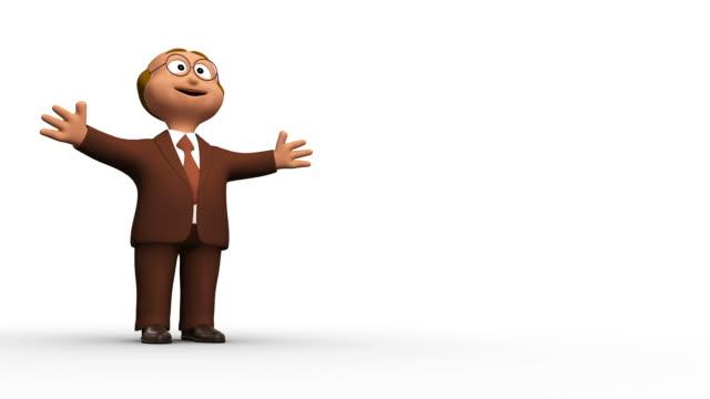 счастливый 3d деловой человек с copyspace - характеры стоковые видео и кадры b-roll