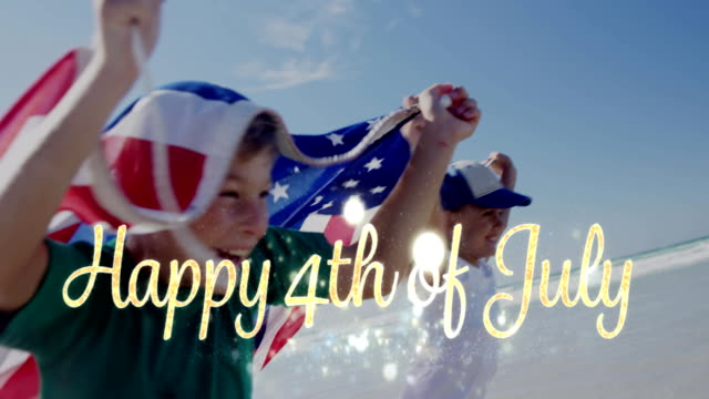 Happy 4th of July greeting and children holding an American flag 4k