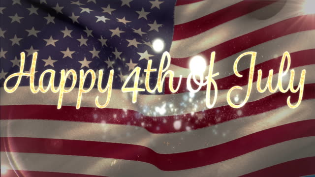 happy 4th of july with flag and fireworks - luglio video stock e b–roll