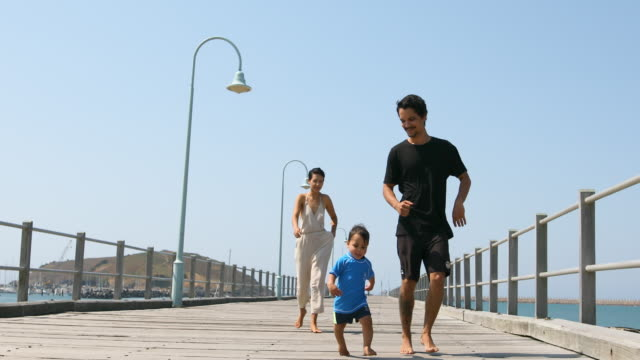 Happy Aboriginal Australian Family on a Pier video