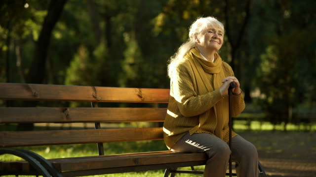 Happy aged woman enjoying warm sunny day sitting on bench in park, retirement Happy aged woman enjoying warm sunny day sitting on bench in park, retirement park bench stock videos & royalty-free footage