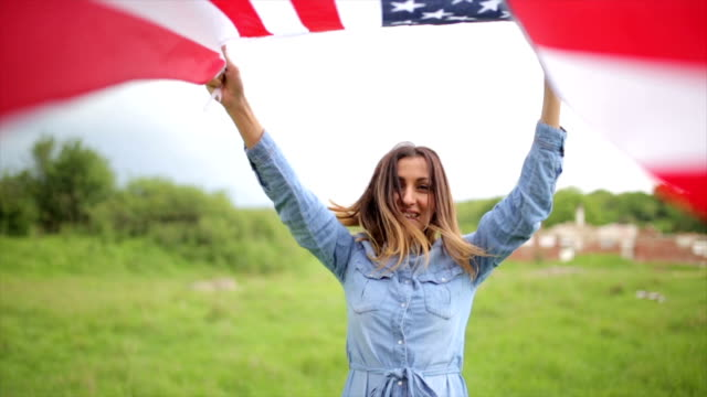 Happy American citizen woman video