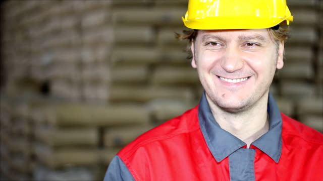 Happy and Smiling Worker in Warehouse video