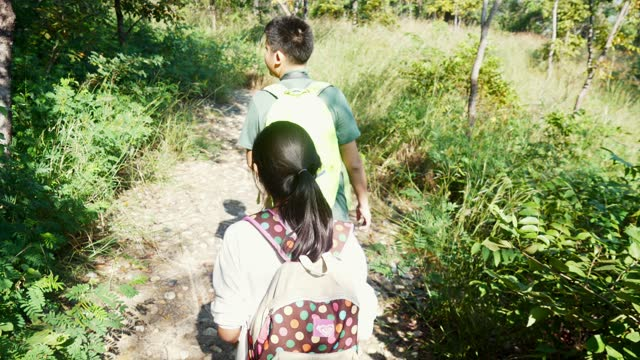Happy Asian boy and his sister with backpack walking in the forest in sunny day together, lifestyle concept.