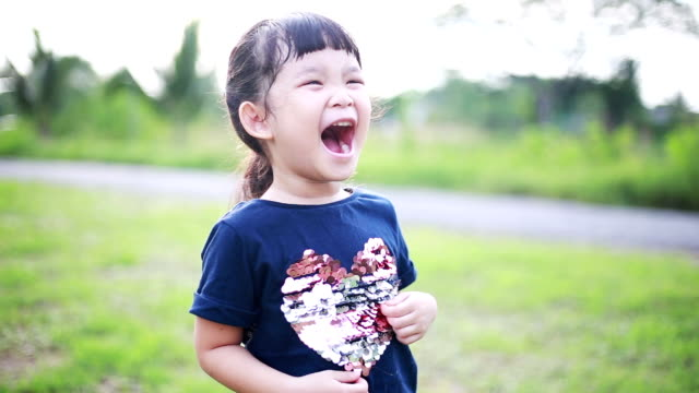 Happy Asian girl, Laugh video