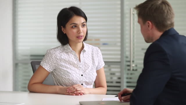 Happy asian seeker or insurance broker consulting client handshaking hr Happy asian seeker or insurance broker talking consulting client handshaking hr recruiter get hired at new job or make successful business deal with customer shake hands at employment negotiations financial building stock videos & royalty-free footage